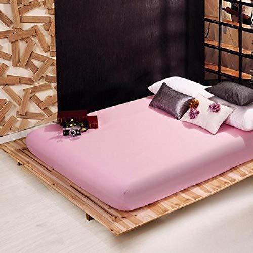 GaoTianyou Sábana Ajustable Color sólido Doble tamaño Queen Funda de colchón Sábana de Cama de Seda Satinada de Lujo Twin Full Queen King-Light_Pink_150cmx200cm + 25cm (1pcs)