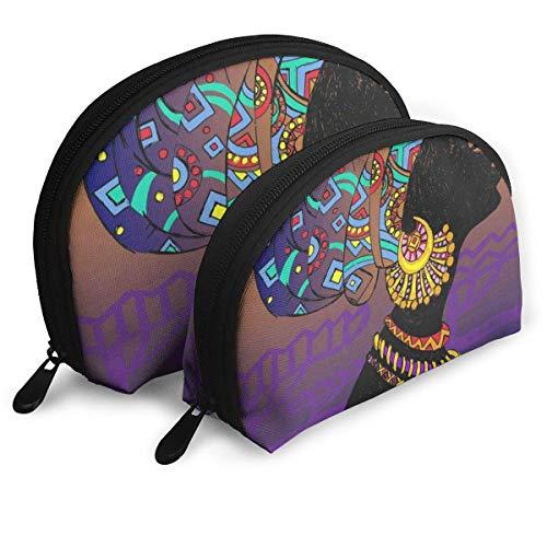 Schminktäschchen Silhouette der schwarzen Frau Aztec Tribal Portable Shell Aufbewahrungstasche für Freundin Travel Pack - 2