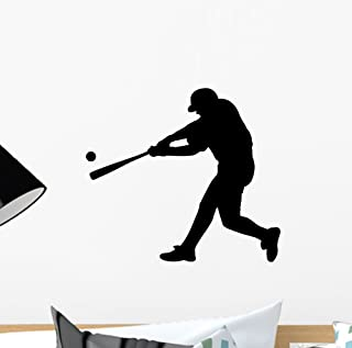 Batter up Baseball Wall Decal by Wallmonkeys Peel and Stick Graphic (12 in W x 11 in H) WM279825