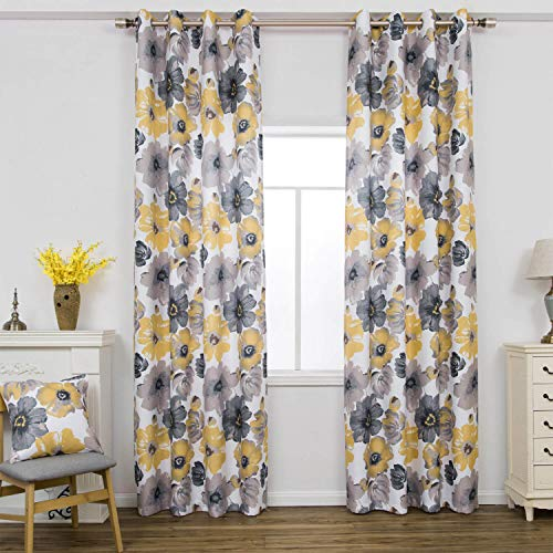 """Clacoco Gray Yellow Flower Curtains and Drapes for Living Room Grommet Top 1Panel 42"""" W 63"""" L"""