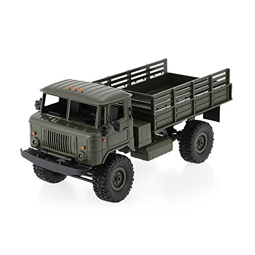 Goolsky WPL B-24 1/16 RC Military Truck Rock Crawler Army Car Kit Vehicle with Motor & Servo (Dark Green)