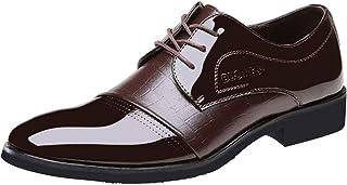 wealsex Scarpe in PU Vernice Classico Lace-Up Derby Scarpe Oxford Uomo Scarpe Casual Ufficio Affari Scarpe di Cuoio