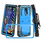 LG K10 2019 Case, LG K40 Case W [Built-in Screen Protector] Heavy Duty Full-Body Protective Armor Rotatable Belt Clip Holster Case [Kickstand], Blue