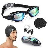 PrimAlite Swimming Kit- Swim Goggles and Swim Caps Combo Set, Nose Clip, Ear Plug & Case- Silicone...