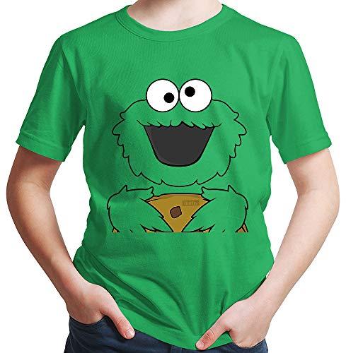 Hariz – Camiseta para chico de galletas, monstruo, carnaval, incluye tarjetas de regalo verde 12 años