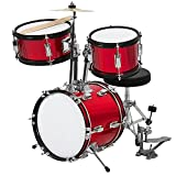 Best Choice Products Kids Beginner 3-Piece Drum Set, Junior Size Musical Instrument Practice Kit w/Sticks, Cushioned Stool, Cymbal, 2 Toms, Bass, Drum Pedal - Red