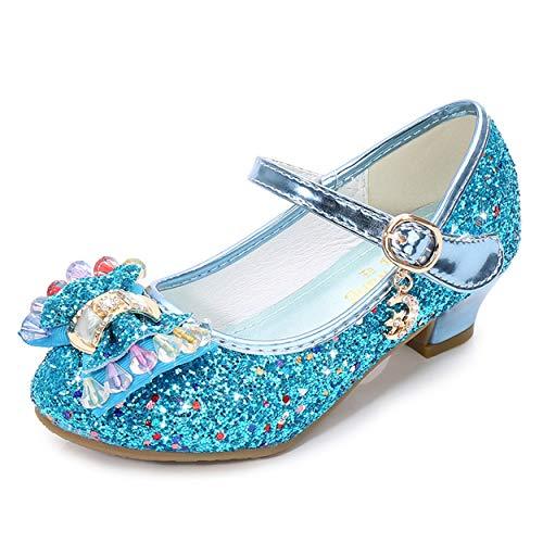 YOSICIL Mädchen Prinzessin Schuhe ELSA Schuhe mit Absatz Flamenco Schuhe Festliche Tanzschuhe Kristall Schuhe Partei Glitzer Schuhe Kostüm Zubehör Weihnachten Party Karneval Fasching Weihnachtsfeier