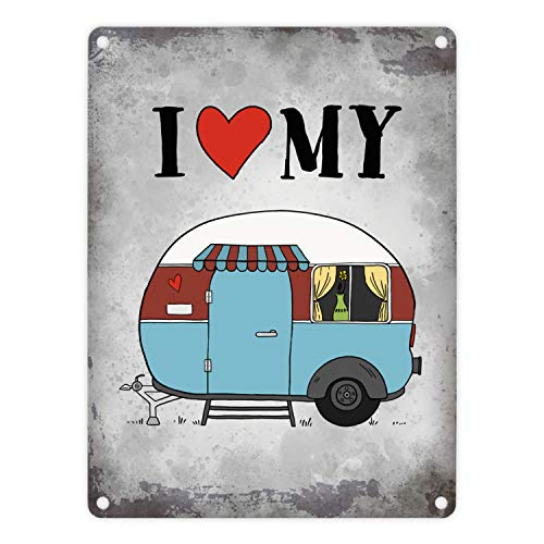trendaffe - I Love My Caravan Metallschild mit Wohnwagen Motiv Wohnmobil Camping Natur Liebe