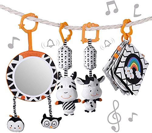Baby Hanging Toys Gift Set Mirror Black and White Plush Rattles Rings and...