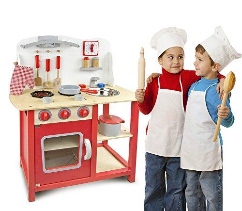 Leomark Classic Spielküche aus Holz - Farbe Rot - Kinderküche mit Zubehör, Holzküchemit Waschbecken, Pfanne, Backofen, Kochtopf, Küchenhelfern, Uhr, Funktionale Bunte Spielzeug, für Mädchen und Jungen, Höhe 75 cm - 2