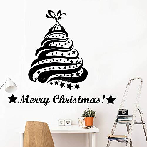 zhuziji Weihnachtsbaum Sterne Wandtattoos Weihnachtsdekoration Wandtattoos Vinyl Aufkleber Home Art Deco Weihnachten Wandbilder 94x84cm