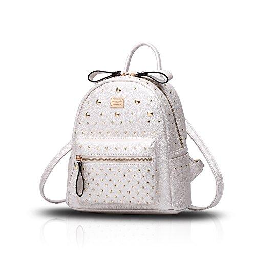 Tisdaini® Donna Borse a zainetto viaggio moda casual scuola zaino Bianco