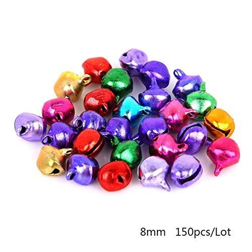 Groothandel Retail 6mm / 8mm / 10mm / 12mm / 14mm Mix Kleuren 30-200Pcs / lot Losse Kralen Kleine Jingle Bells Kerstdecoratie Gift, 8mm