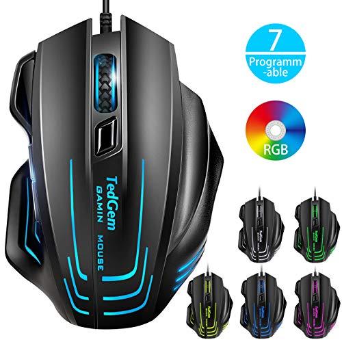 Gaming Maus, TedGem Gaming-Mäuse für PC mit RGB Beleuchtung, 7500 DPI / 7 Programmierbaren Tasten, Optischer Sensor Wired Gaming Maus für pro Gamer