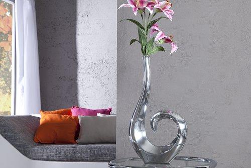 Designer Vase Wave in alluminio argento dinotech Large 49 cm
