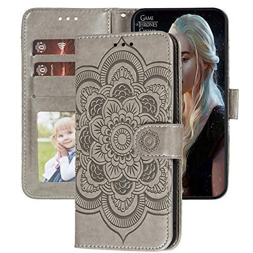 Capa carteira XYX Motorola G8 Power Lite, capa para Moto G8 Power Lite, [flor mandala em relevo] capa de couro PU para Motorola Moto G8 Power Lite (cinza)
