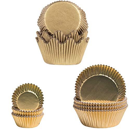 Demmler Pirottini per muffin – 3 diversi tipi – pirottini per cupcake, formine a corona, capsule di cioccolatini – Tema: oro – Totale 155 pezzi – Made in Germany