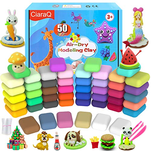 Modeling Clay Kit - 50 Colors Air Dry Ultra Light Clay, Safe & Non-Toxic, Great Gift for Kids.