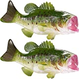 SATINIOR 2 Pieces Fake Fish Simulated Fish Model Large Mouth Bass Artificial Lifelike Fish for Home Market Party Display, Photography Props, Kitchen Decoration