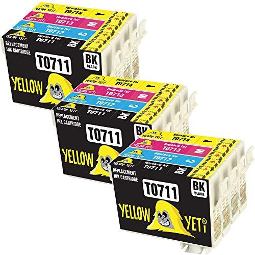 Yellow Yeti Ersatz für Epson T0711 T0712 T0713 T0714 T0715 12 Druckerpatronen kompatibel für Epson Stylus S20 S21 SX100 SX115 SX200 SX218 SX415 SX515W SX600FW SX610FW BX300F BX610FW D92 DX7400