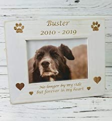 Personalised Wooden Pet Photo Frame   Dog and Pet Memory Gift   Engraved Vintage Style Frame   Keepsake for Animals   Puppy   6x4   Doggy #1