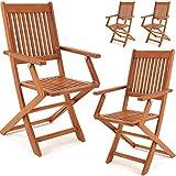 Deuba 4er Set Gartenstuhl Sydney FSC®-zertifiziertes Akazienholz klappbar Klappstuhl Hochlehner Garten Klappsessel