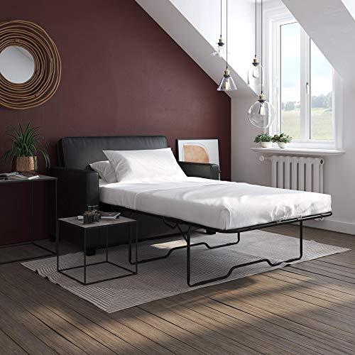 Signature Sleep Casey Faux Leather Sleeper Sofa with Memory Foam Mattress, Twin