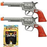Unbranded 2 (Two) Cowboy Gun Toy Pistol Revolver Wild WEST Play Set Badge Belt Holster Silver