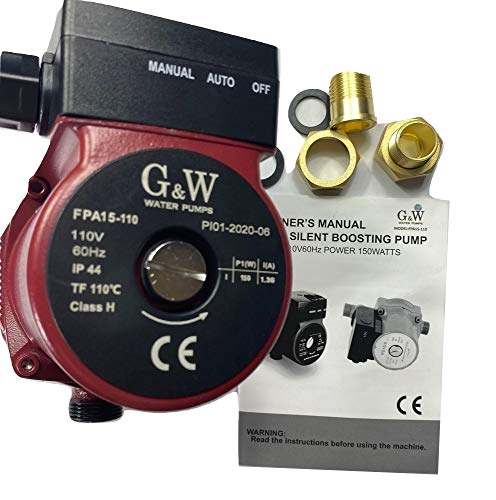G&W 150W 110V Recirculating Booster Pump Domestic Hot Water cast iron with 3/4' to 1/2' adapters 35ft Head 7GPM