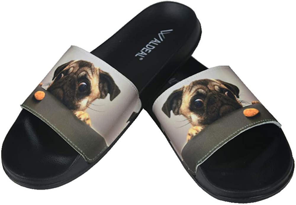 Pug Dog Pizza Slide Sandals Indoor /& Outdoor Slippers Shoes for kids boys and girls