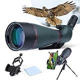 Telescopio terrestre Resistente al Agua 25-75 x 100 mm con trípode, Estuche de Transporte, Lente FMC para observación de Aves, Caza, Turismo al Aire Libre, Verde