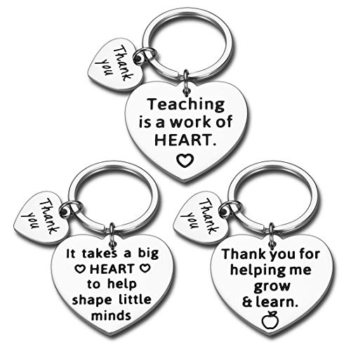 Teacher Appreciation Gifts 3PCS Keychain Teachers Day Graduation for Women Men Birthday Thank You Gift from Students Back to School Christmas Jewelry for Teachers