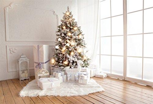YongFoto 5x3ft Fotografie Achtergrond Kerstboom Geschenken Lantaarn Frans Sash Gordijn Tapijt Strepen Houten Vloer Interieur Photo Achtergronden Fotografie Video Party Kids Photo Studio Props