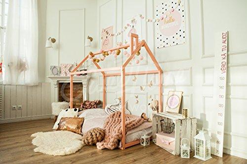 Sweet Home from Wood Cama Montessori – Cama de madera para niños y niños – Marco de cama para dormitorio infantil – Rosa