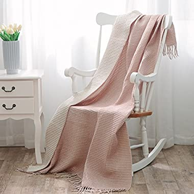 NordECO HOME Fringe Throw 100% Arylic Ultra Soft Lightweight Blanket for Couch,Chair,51  x 67 , Pink