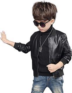 Motocicleta para Niños Abrigo de Cuero Faux PU Corta Chaqueta de Cuero Outwear Cool Coat