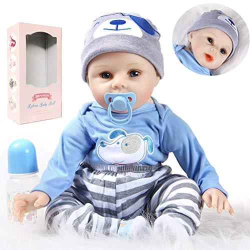 Reborn Babypop 22 inch 55 cm Pasgeboren babypop Draagt een jongenskleding Speelgoed Zachte siliconen vinyl poppen