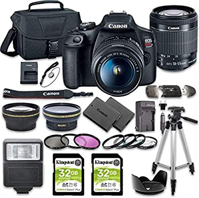Canon EOS Rebel T7 DSLR Camera Bundle with Canon EF-S 18-55mm f/3.5-5.6 is II Lens + 2pc Kingston 32GB Memory Cards + Accessory Kit