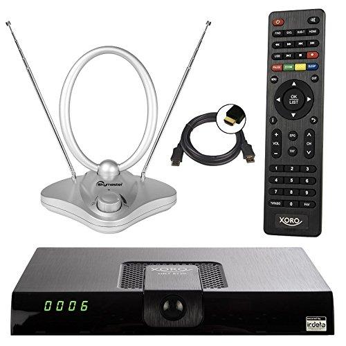 netshop 25 Xoro HRT 8720/8724 Full HD HEVC DVB-T/T2 Receiver + 44 dB ANTENNE (H.265, HDTV, HDMI, Irdeto Zugangssystem, Mediaplayer, PVR Ready, USB 2.0, 12V) schwarz