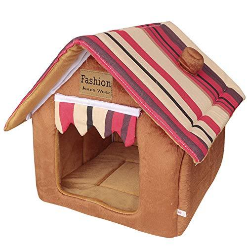 Haustierhütte aus hochwertigem Plüschstoff in 6 5 Größen – waschbares & kratzfestes Haus für Hunde und Katzen (Style 4, XS)