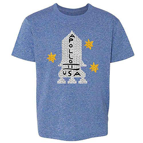 Apollo 11 Retro Knit Sweater Style Costume Heather Royal Blue L Youth Kids Girl Boy T-Shirt