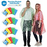 Wealers Rain Poncho Emergency Disposable 20 Ponchos Per Pack 5 Different Colors Adult Size