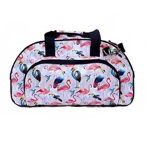 IKURI Weekender - Wasserdichte Tasche Für Frauen Sporttasche Schwimmtasche Umhängetasche für Fitness, Sauna und Wellness Kliniktasche Reisetasche aus Plane Retrolook Flamingo - Design Pajaros