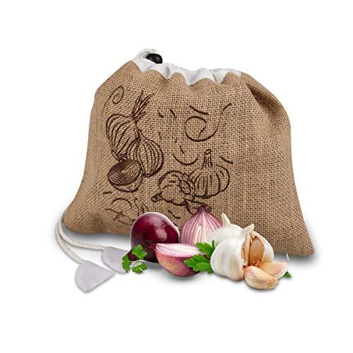 Fackelmann - Sacchetto per frutta e verdura, in iuta e poliestere, Colore: Marrone/Bianco, ca. 27,5 x 23 cm