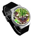 Armbanduhren,LED Touchscreen Uhr Broly Dbs Anime Umgebung Wasserdicht Leuchtende Elektronische Uhr Geburtstagsgeschenk Silber Shell Black Belt