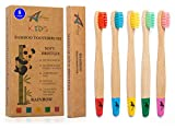 Kids Bamboo Toothbrushes   Organic & Eco-Friendly   5 Pack in Rainbow Colours   Soft & Gentle BPA-Free Bristles   Children's Natural Wooden Toothbrush   Biodegradable   Plastic-Free Packaging