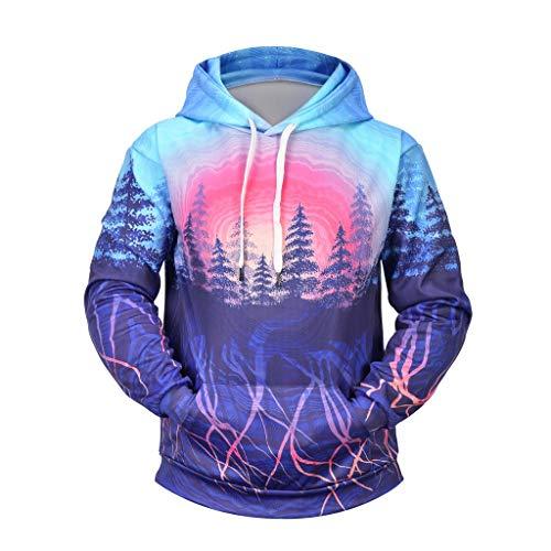 ღJiaMeng Fantasiewald Druck Sweatshirts Warm Halten Kapuzenjacke Herren Mode Freizeit Mantel Herbst und Winter Langarm Einfarbig Jacke