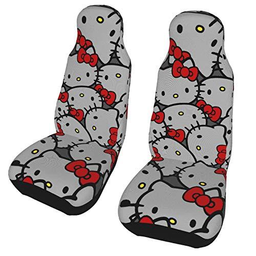 ESCFLAG Fundas de asiento de coche lavables de Hello Kitty, suave protector decorativo, se adapta a la mayoría de los coches, camiones, furgonetas, SUV, asientos delanteros