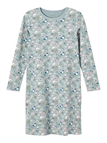 NAME IT Mädchen Nkfnightgown Ls Lead Flower AOP Noos Nachthemd, 146-152