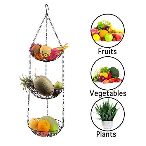 Obstkorb Hängend,3-Lagiger Küche Hängeobstkorb Gemüsekorb-Etagere Höhe Individuell Einstellbar-Schwarz Verchromter Obst Hängekorb-Obstschale (110CM)